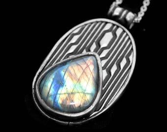 Natural Gemstone Labradorite Necklace, Birthstone Pendant, Boho Art Deco Jewelry