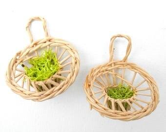 Set of Miniature Garden Wall Baskets, Handmade, Country Garden Miniatures, Dollhouse Garden Miniatures, Wicker Baskets, One Inch Scale, OOAK
