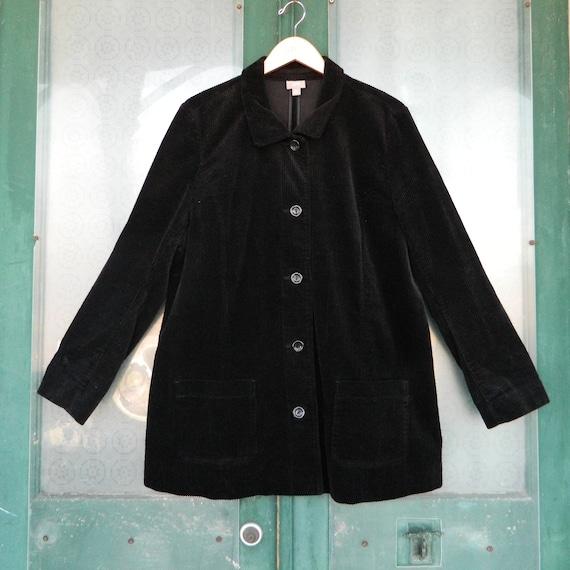 J. Jill Placket Jacket -XL- Black Wide Wale Cotton Corduroy
