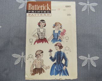 "Little Girls Pattern #6661 Vintage 1950s Butterick Sewing Pattern JACKET & WESKITS Pattern Size 4 Breast 23"" Girl's"