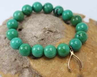 CLEARANCE Green Howlite  Stretch Bracelet with Wishbone Charm