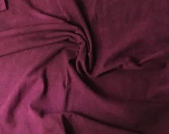Hand Dyed Maroon Raw Silk Noil Fabric - 1 Yard