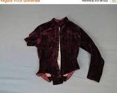 20% Sale - Victorian Bodice Dark Burgundy Velvet, As Is, 1800s Vintage Antique Dress Scrap Fabric Cutter Repair