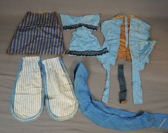 Antique Dress Remnants, Blue Silk Bodice, Cuffs and Scraps, Stripes, Lace. Vintage 1800s Victorian, As Is