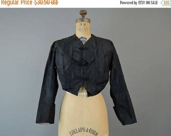 20% Sale - Vintage Edwardian Jacket 1900s Short Black Silk Taffeta fits 34 inch bust, Antique Short Jacket, some flaws