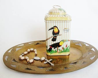 vintage bird cage candy tin box parrot, love bird, scarlet sapphire macaw, tropical birds container trinket box
