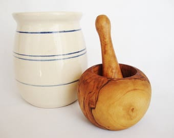 vintage mortar and pestle,  herb crusher  rustic style, olive wood for apothecary