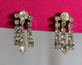 Vintage Pair of Silver Tone Rhinestone Articulated Long Drop Screw-back Earrings - 3 strands