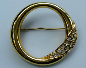 Vintage Money Circle Pin Goldtone with Clear Rhinestones