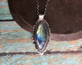 hope is the thing with feathers. carved labradorite feather necklace