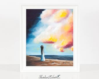 Oceans Apart - Art Print - Seascape Art - Bright Bold Colors - Limited Edition - LAST ONES - Home Decor - Archival - 8x10 - ERBACK - Big sky