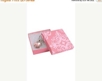 Summer Sale 50 Pack of 3.5X3.5X1 Inch Size High Quality Pink Damask Cotton Filled Jewelry Presentation Boxes