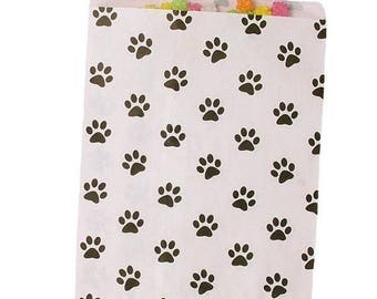 New Years Sale White and Black Paw Print Paper Merchandise Bags 2 sizes to choose from