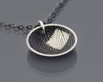 Patchwork Grasslands Necklace, etched, oxidized sterling silver, botanical jewelry, geometric pendant
