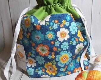 Blue Retro Floral Drawstring Project Bag- Medium- Knitting- Crochet- Needlearts- Crafting- Artist