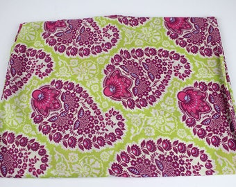 Joel Dewberry Heirloom Paisly green pink floral voile fabric, 2 yards