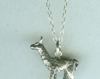 Sterling 3D LLAMA Pendant with Chain -