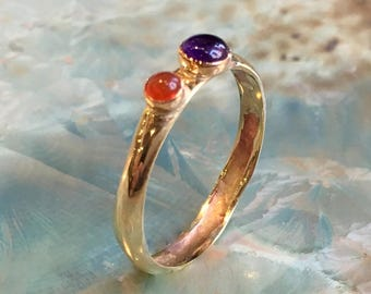 Mothers Birthstone Ring, Birthstone Rings For Mom, Mothers Jewelry, Family Ring, Gold gemstones ring, Gift For Mom - Always together R2535