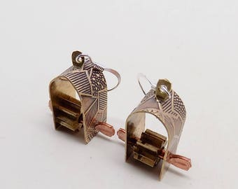 Mixed metal steampunk jewelry earrings.