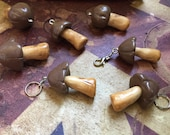 Mushroom Mountain: Handsculpted Chocolate Biscuit Mushroom Stitch Markers for Knitters and Crocheters Inspired by the Japanese Treat!