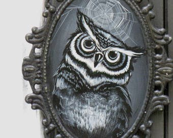 Hand Painted Vintage Inspired HALLOWEEN OWL Painting on Victorian Gothic Metal