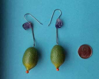 Raw Amethyst and Lime Dangles