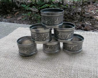6 Vintage Silver Plate Napkin Rings Victorian Napkin Rings French Country Farmhouse Set of 6 Silverplate Napkin Rings