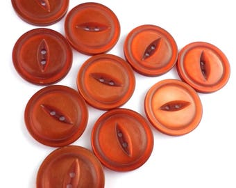 10 Rust/Dark Orange Vintage Buttons Cat Eye/Fish Eye Buttons for Sewing Crafts Scrapbooking Cardmaking Jewelry