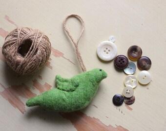 Felt Bird Ornament, Green Felted Wool Bird Ornament, Chartreuse Bird Ornament