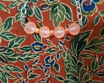 Peach Frosted Glass Bracelet
