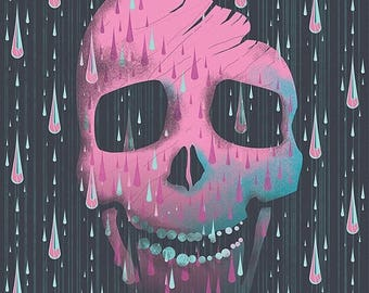 50% Off Summer Sale - Pink Skull Art Print - Halloween Illustration - Tear Drops - Crystal Tears - Skull Illustration - Blue and Brown Color