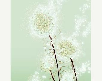 50% Off Summer Sale - Dandelion Art - Perennial Moment (tea green) - 12x18 Print