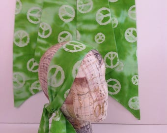 Green Peace Sign Ascot Scarf or Tie Up Retro Head Scarf Green and White Only Two Available