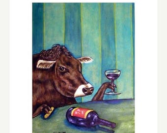 20 % off storewide Cow at the Wine Bar Art Print