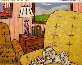 20 % off storewide Maltese dog art PRINT poster gift modern folk JSCHMETZ  needlepoint