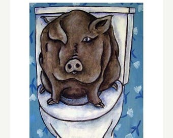 20 % off storewide Pig in the Bathroom Animal Art Print