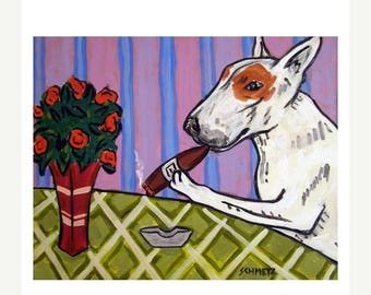 20% off storewide Bull Terrier at the Cigar Bar Dog Art Print
