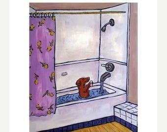 20% off Dachshund , dachshund art , dachshund print , wall art, bathroom art , shower , 11x14 dog art print