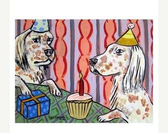 20% off English Setter Birthday Dog Art Print
