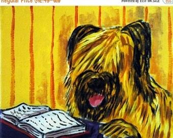 20% off Briard ,briard print,briard art,dog print,dog art, gift for librarian, PRINT,modern dog art,folk art