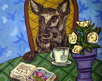20% off Scottish Terrier art, coffee tile, coffee art, scottish terrier print on tile, ceramic coaster , gift , modern dog art