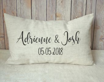 Personalized pillow, Cotton anniversary, kneeling gift, 4th anniversary romantic gift, gift for him,  2nd anniversary, wedding gift, engage