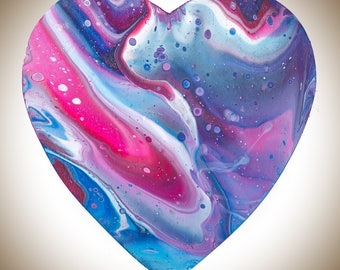 Abstract Wooden Heart painting wall art wall decor wall hangings Acrylic Impasto colourful fluid art wedding anniversary gift by QIQIGallery
