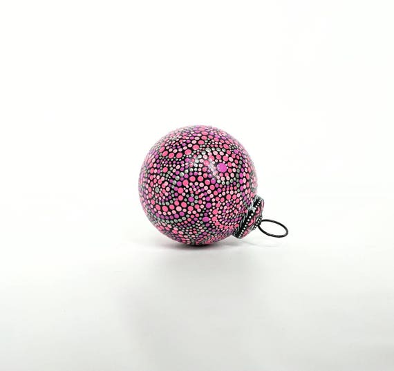 Pinks and black Christmas ornaments Hand painted glass ornaments pink ornament