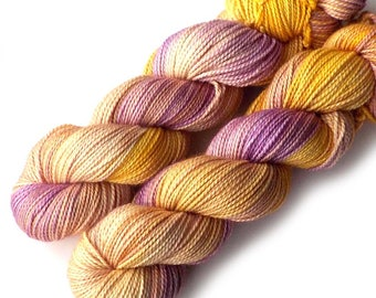 Hand Dyed Yarn Boston Baby Alpaca Merino Silk DK Yarn, Pale Crocus