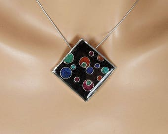 Sterling silver square pendant with multi-colored crushed stone inlay