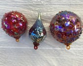 Hand Blown - Rainbow  Glass - Christmas Ornaments - Free shipping Stock # efo-119