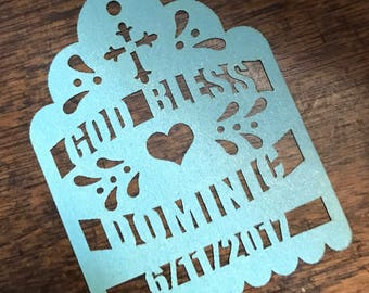 """Baptism Cross Laser Cut Tags (75 CUSTOM tags) for Maracas or Party Favors """"Thank You"""" """"Amor"""" """"Gracias"""" and date name"""