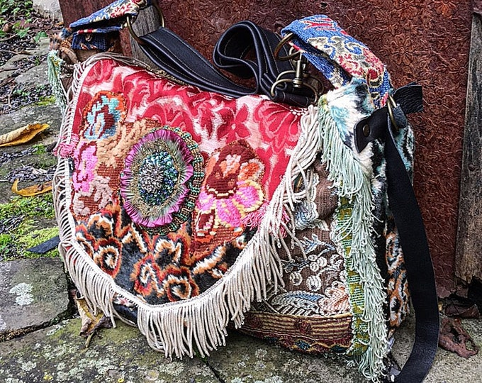 Bohemian Hobo Slouch Shoulder Bag ~ Exotic Bohemian Gypsy Purse with Black Genuine Leather Accents and Convertible Strap. Ready to Ship