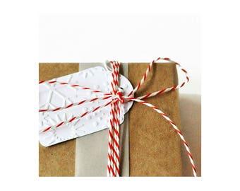 Snowflake Tags {10} | Embossed Tags | Snowflake Tags | Holiday Tags | Christmas Tags | Holiday Tags | Mini Snowflakes Tags